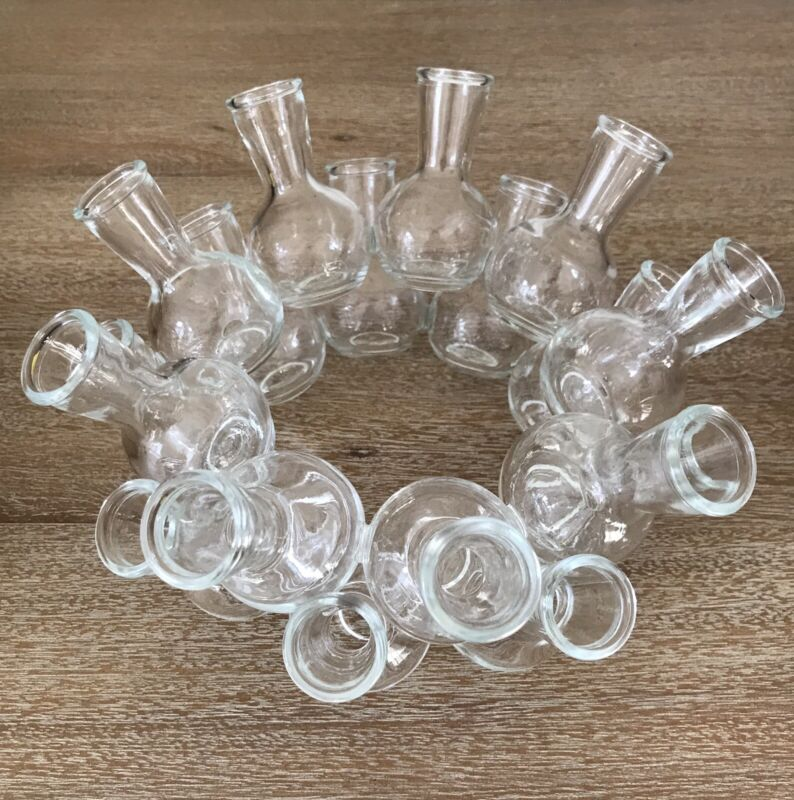 """Cluster of 18 Mini Clear Glass Flower Bud Vases Attached Stacked  8""""x4 1/2""""Excel"""