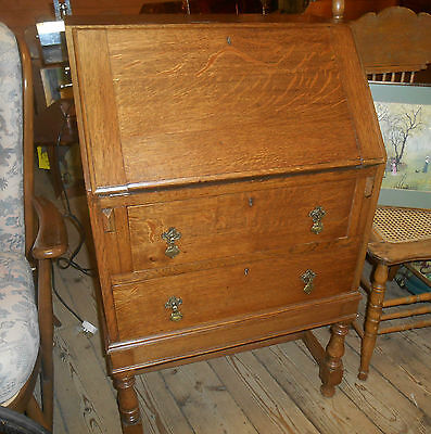 J A S Shoolbred Oak Bureau 1920s London Fall Front Two Drawers very rare