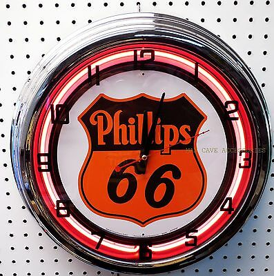 17  Phillips 66 Sign Gasoline Motor Oil Gas Station Neon Clock