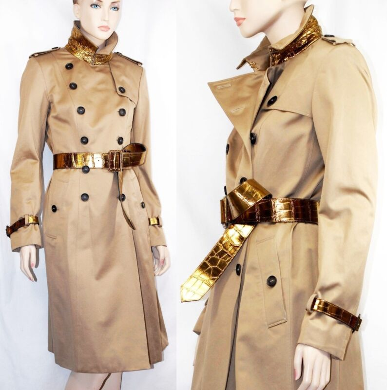 $8,000 Burberry Prorsum 10 12 44 Limited Alligator Belt Cotton Trench Coat Women