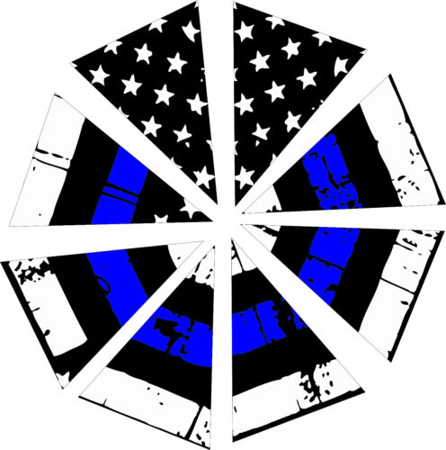 Fire Helmet 8 Section POLICE Tattered Blue Line Reflective Helmet Decal-8 Piece