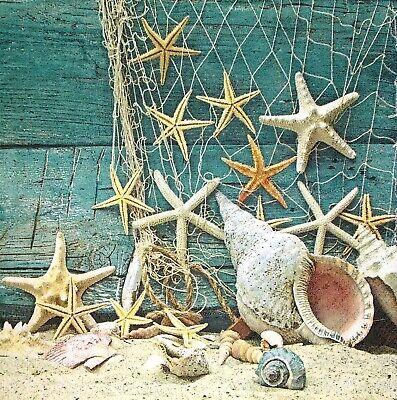 3 x Single Paper Napkins Decoupage Tissue Sea Seaside Starfish Shell Net M196