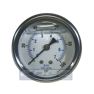 Liquid Filled Pressure Gauge 0-100 Psi 2.5 Face 14 Back Mount Wog
