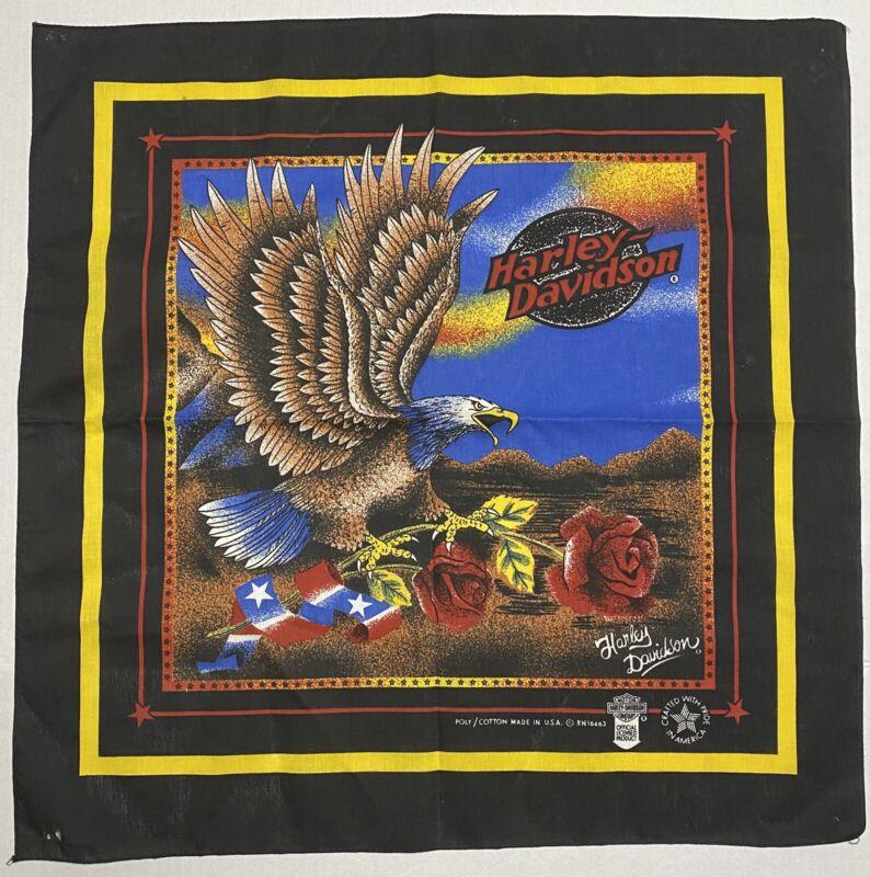 "*Vintage Harley Davidson Patriotic Bandana Red Roses & Eagles   22"" X 21.75"" NEW"
