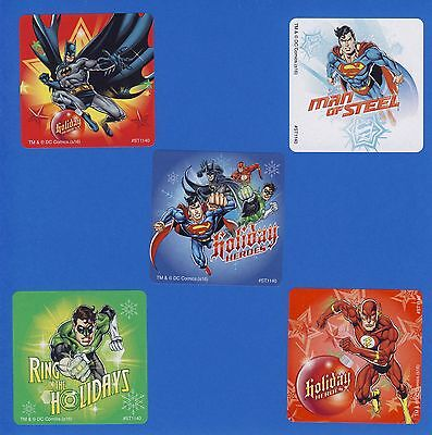 15 Justice League Christmas Holiday- Large Stickers - Superman, Batman, Flash