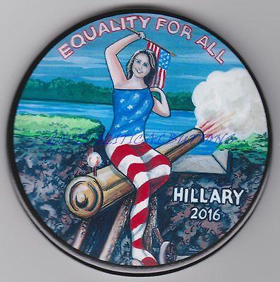 HILLARY CLINTON 2016 SITTING ON LOADED GUN POLITICAL BUTTON  3IN PINBACK PIN