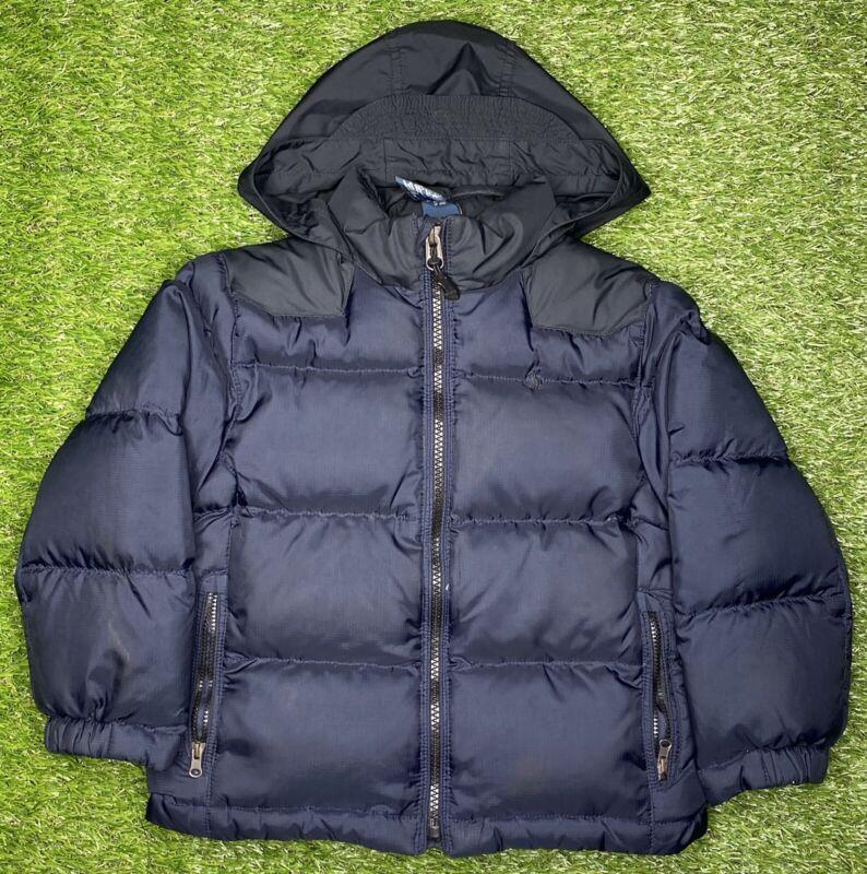 Vintage POLO RALPH LAUREN Boys Toddler Down Coat Jacket Puffer Hooded 4T Blue