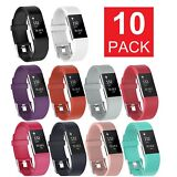 10 Pack Replacement Wristband For Fitbit Charge 2 Band Silicone Fitness