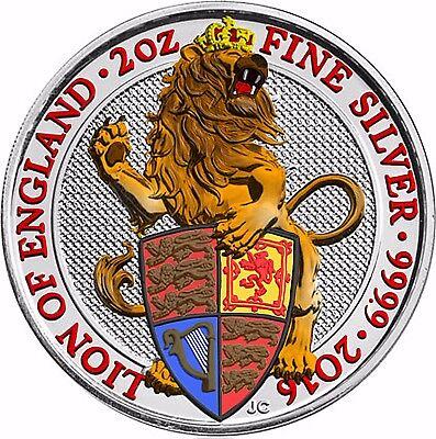 Großbritannien 2016 Löwe von England Silbermünze 5 Pfund Queen's Beast in Farbe (Silber Pfund)