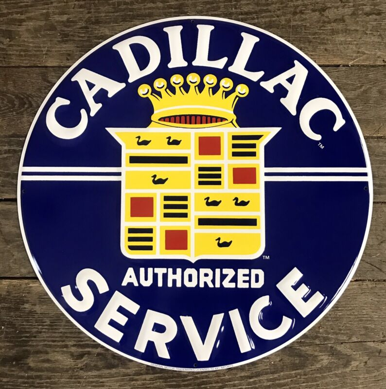 """CADILLAC Authorized Service 24"""" Circular Embossed Classic Tin Metal Sign"""