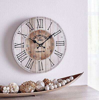 "Uhr Wanduhr ""Landhaus"" batteriebetr. Shabby  Vintage 34 cm Holz"