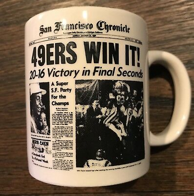 RARE Super Bowl XXIII 23 San Francisco Chronicle Coffee Cup Mug 49ers vs Bengals (Super Bowl Cup)
