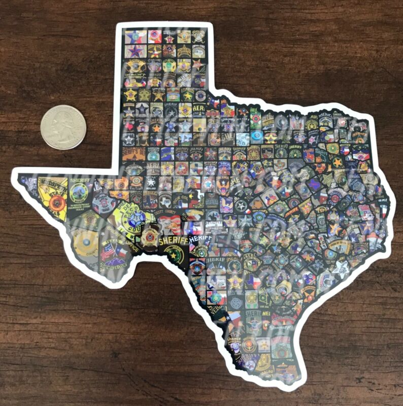 Large sticker of all Texas Sheriff's Departments patches