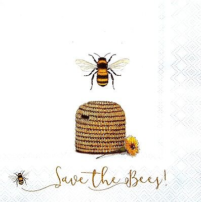 4 Lunch Paper Napkins for Decoupage Craft Vintage Napkin Bee , Bee, Bee