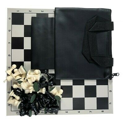 Tournament Chess Set Triple Weighted Pieces Board Bag in Bla