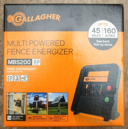 **NEW** Gallagher MBS200 Multi-Powered Fence Energizer 45 Miles / 160 Acres