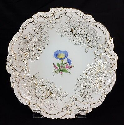 """Large 12"""" Inch Meissen Raised Gold Gilt & Floral Rococo Platter Plate / Bowl"""
