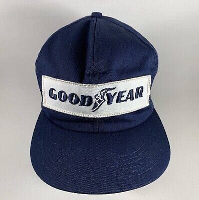 Vintage 80s Goodyear Navy Blue Embroidered Logo Patch Cap Hat, Snapback