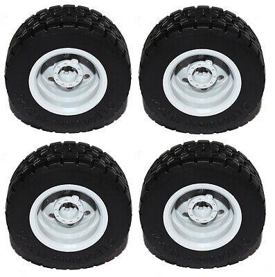 4x New Light bluish grey LEGO Technic Large Wheels with black Tyres 49.5x20 mm
