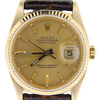 Mens Rolex Datejust Solid 18k Yellow Gold Watch Brown Band Champagne Dial 16018