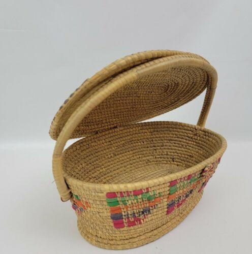 Circle weave Ghana Bolga colorful straw basket with handle & lid