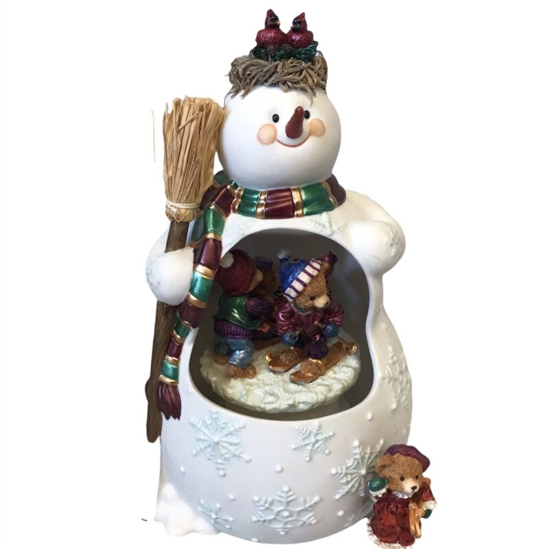 Musical Wind Up Snowman with Rotating Skiing Bears inside the Snowman's Tummy