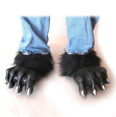 Black Werewolf Beast Wolf Halloween Adult Costume Feet  fits size 7-12 mens - Wolf Feet