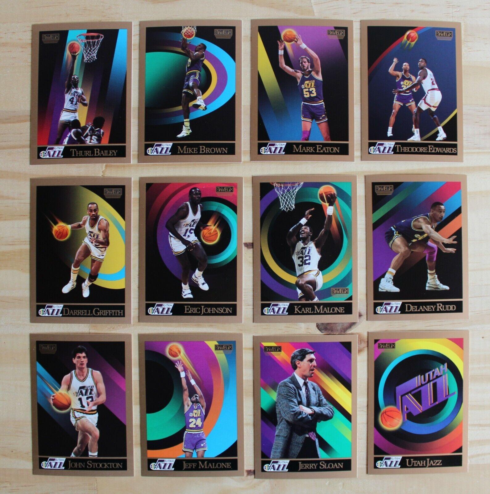 Utah jazz 1990/91 skybox nba complete set (12 cards) karl malone