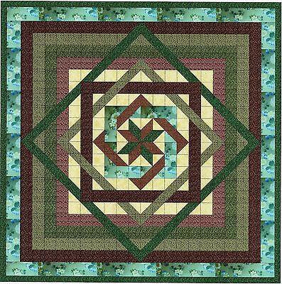 Easy Quilt Kit/Tumbling Star/Green,Brown,Kona Bay/Pre-cut Fabrics Ready To Sew**