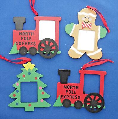 vintage photo frame wood Christmas ornaments train engine gingerbread man tree