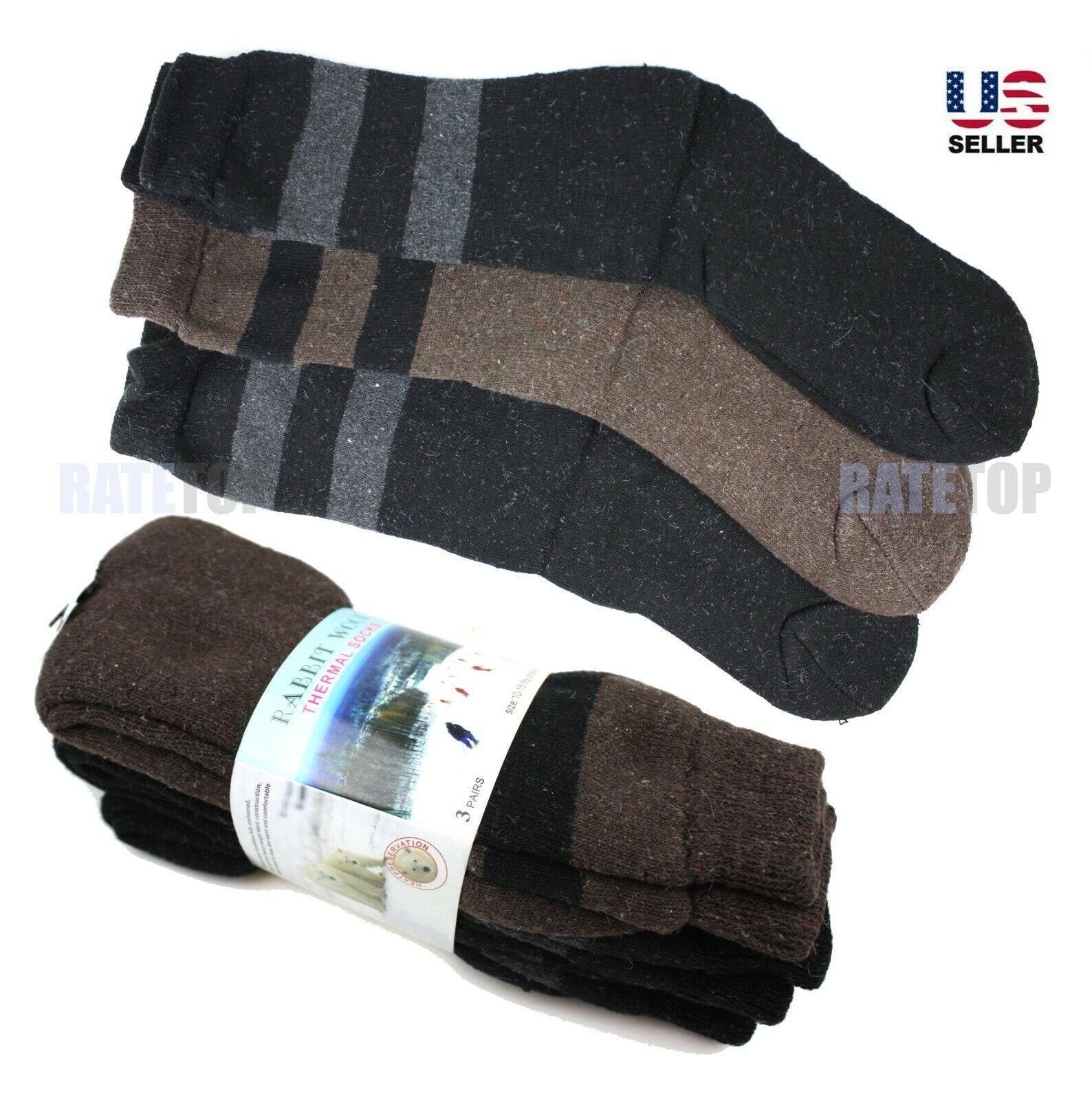 3 Pairs Mens Winter Heavy Duty Thermal Wool Crew Boots Socks Extra Warm 10-15 Clothing, Shoes & Accessories