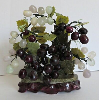 Vintage Sculpture Jade Grape Vine Bonsai Tree Chinese , used for sale  Shipping to Canada