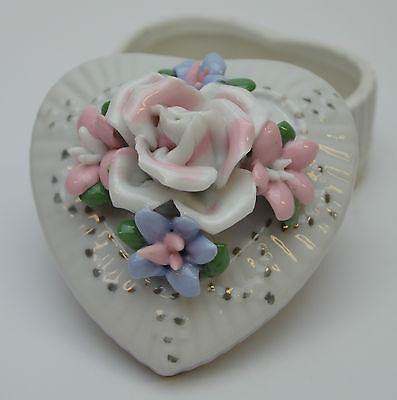 Badcock Trinket Dish Heart Box Flowers Porcelain Ceramic Jewelry Chest China