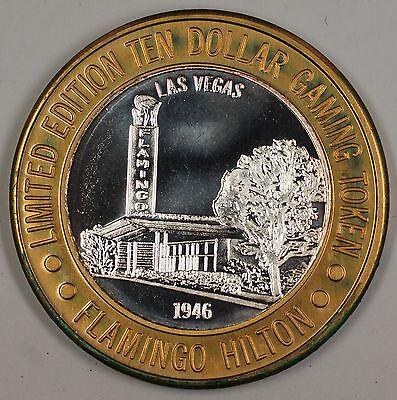 "Flamingo Hilton ""1946"" Las Vegas Limited Edition Ten Dollar Silver Gaming Token"