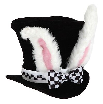 Adult White Rabbit Bunny Ears Hatter Alice In Wonderland Halloween Costume Hat  (White Rabbit Halloween Costume Alice Wonderland)