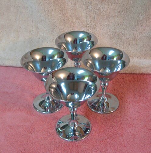 Set 4 Continental Chrome Martini Cocktail Glasses Goblets