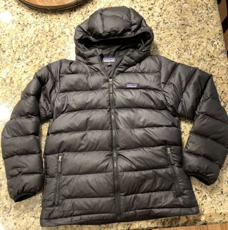 Youth Boys Girls Patagonia Duck Down Hooded Puff Jacket Black XL 14