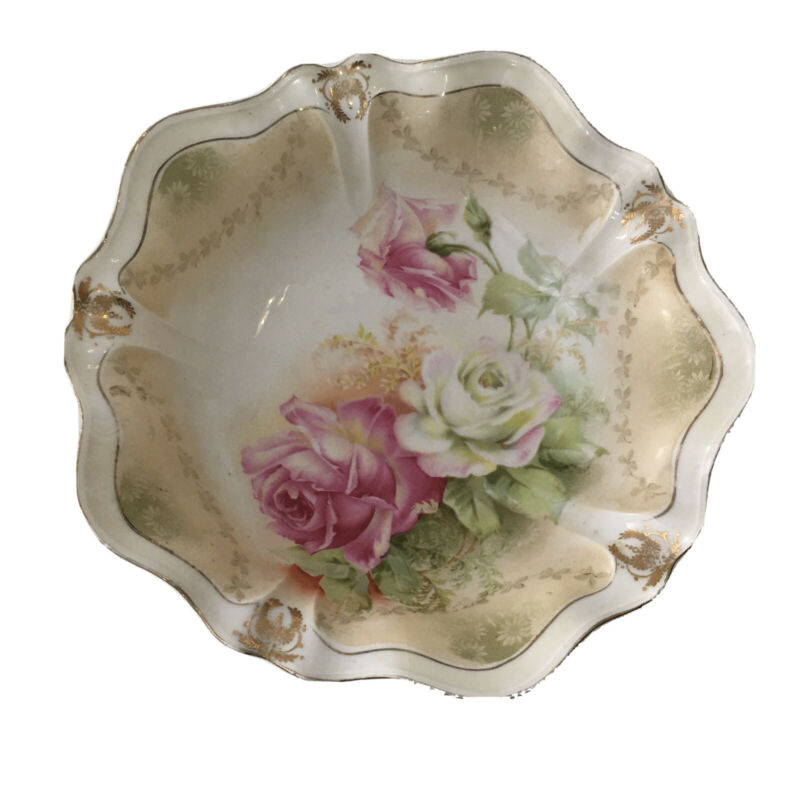 Vintage R.S. Germany China Pink Roses Decorated Bowl