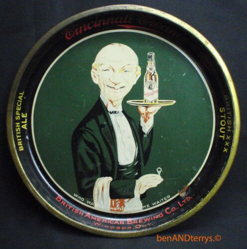 Cincinnati Cream Who Wants the Handsome Waiter Tin Litho Serving Beer Tray