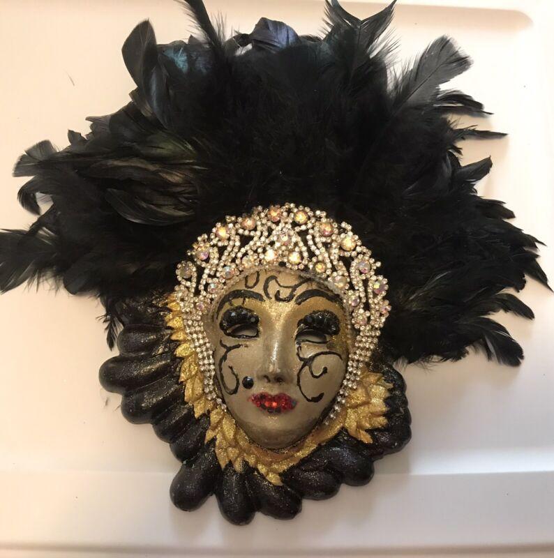 Vintage Mardi Gras Porcelain Ceramic Painted Wall Hanging Face Mask Black Rare
