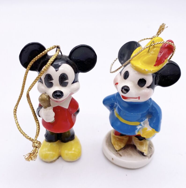 Vtg Mickey Minnie Mouse Ceramic Ornaments 2 Japan Walt Disney Productions