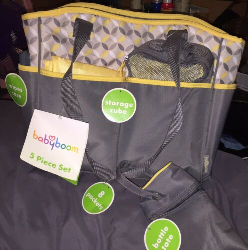 Baby Boom 5-Piece Tote Diaper Bag Set new