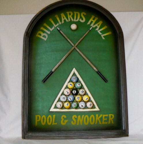 3D Billiards Hall Pool & Snookers Room Wood Sign Wall Decor Mancave Art