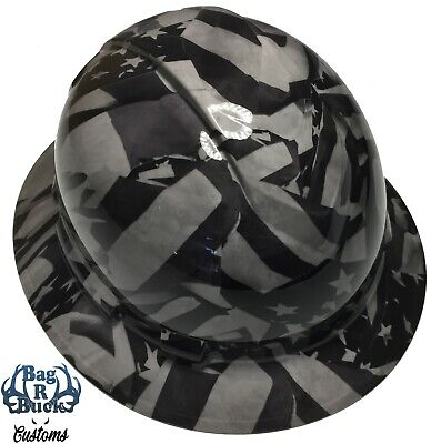Hydro Dipped Hard Hat Full Brim Hg Light Gray Midnight Flags 6 Point Harness