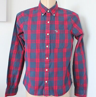 Mens Abercrombie & Fitch Shirt Muscle Fit Blue Red Check L/S XL Pit to Pit 23