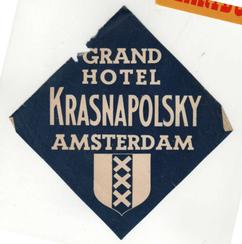 VINTAGE AMSTERDAM Netherlands TRAVEL Luggage Label GRAND HOTEL KRASNAPOLSKY Kras