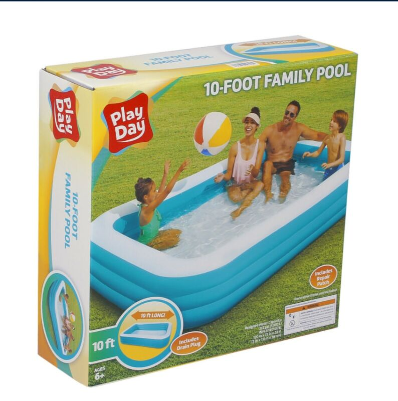 """Play Day 120""""x72""""x22"""" Rectangular Inflatable Family Pool"""