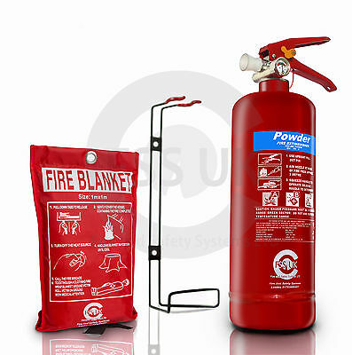 BSi 2KG DRY POWDER FIRE EXTINGUISHER WITH BLANKET HOME OFFICE CAR VANS KITCHEN