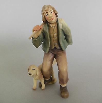 Hirte mit Hund,Wanderer für Krippenfiguren Größe 8 cm, Holz bemalt TB18