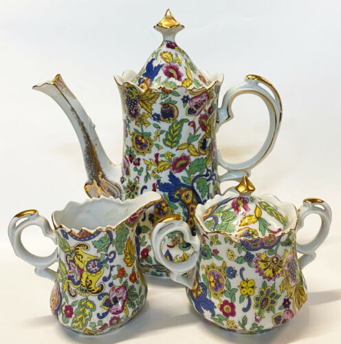 Vintage LEFTON Porcelain PAISLEY FANTASIA Coffee/Tea Pot, Creamer & Sugar Set